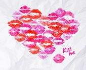 picture of lipstick  - Heart of lipstick kiss signs prints of pink - JPG