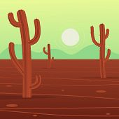 stock photo of cactus  - Desert cartoon landscape with cactus - JPG