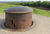image of top-gun  - Steel machine gun turret on top of French First World War Fort Douaumont near Verdun - JPG