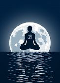 stock photo of ohm  - Vector yoga with ohm symbol over moon background - JPG