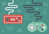 stock photo of controller  - Gaming controllers and game icons and symbol elements - JPG