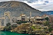 pic of old bridge  - Old town of Mostar and Neretva river from the Old Bridge  - JPG