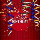 stock photo of birthday  - Vector birthday card with curling stream - JPG