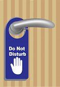 foto of door  - Vector illustration of a Do Not Disturb Sign door hanger hanging on the metal door handle of a closed a wooden door - JPG