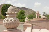 picture of jain  - staute of pot and elephant in jain temple ajmer rajasthan - JPG