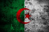 stock photo of algiers  - grunge flag of Algeria with capital in Algiers - JPG