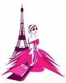 picture of wearing dress  - fashion shopping in Paris vector design  - JPG