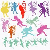 picture of san valentine  - Fairy Angel Cherub vector valentine cupid set silhouettes - JPG
