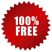 picture of 100 percent  - 100 percent free sticker isolated on white background - JPG
