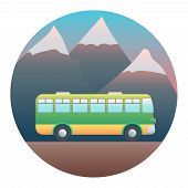 stock photo of motor coach  - Bus on a Background of Mountains  - JPG