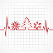 image of heartbeat  - Heartbeat make Christmas symbols and tree stock vector - JPG