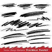 stock photo of scrabble  - Scribble Smears Hand Drawn in Pencil  - JPG