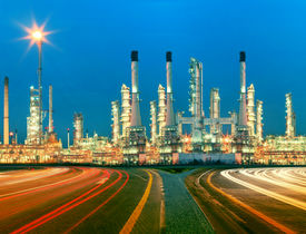 picture of heavy  - beautiful lighting of oil refinery plant in heavy petrochemical industry estate use for power energy and petroleum industrial topic