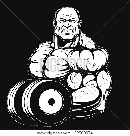 Illustration, bodybuilder with dumbbell