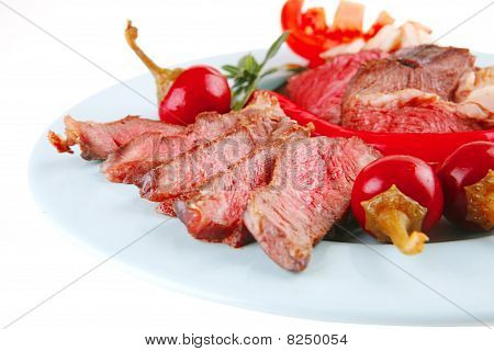 Roast Meat Slices On Plate