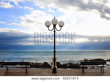 Chiavari Seafront With Bench And Street Lamp