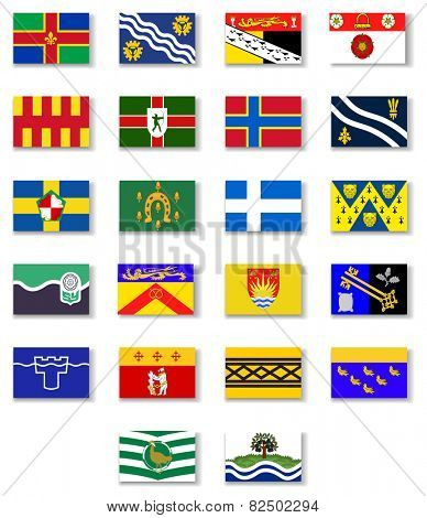 Flags of the counties of England. Set 2.Vector