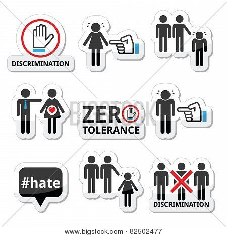 Stop discrimination of men, and women icons set