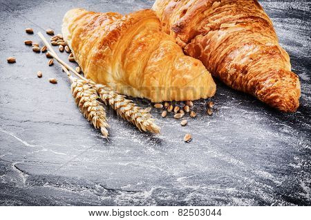 Breakfast Setting With Fresh Croissants