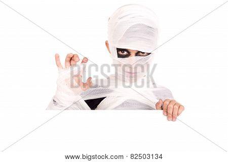 Boy In Halloween Mummy Costume