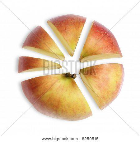 Manzana cortada en sectores como el esquema de negocio