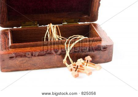 wooden box and cross