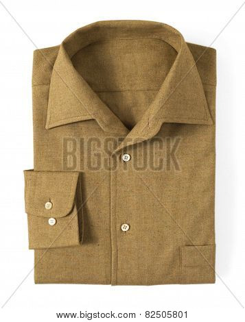 Close Up Brown Folded Shirt With Collar