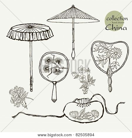 Collection womens old fans and umbrellas. Vector illustration sketch on paper background