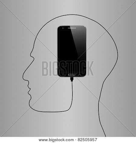 Black Phone forming human face profile with its cable. Creative concept for your design idea, Eps10,
