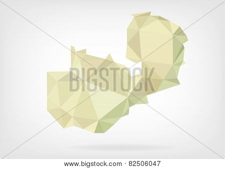 Low Poly map of Zambia