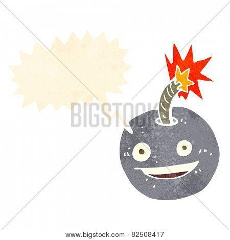 cartoon burning bomb with speech bubble