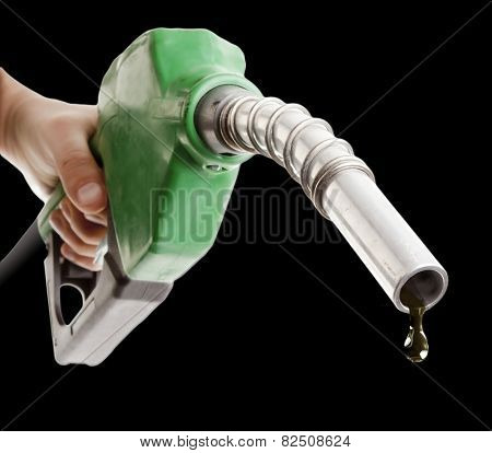 Male hand holding gas pump isolated on white