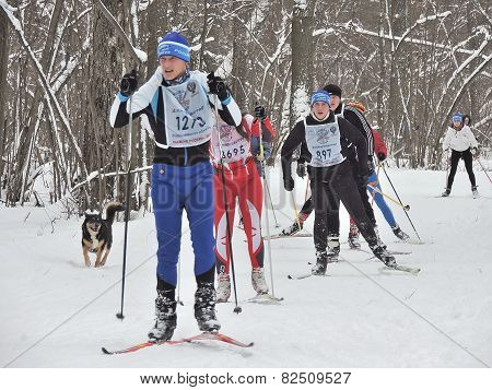 Athletes On The Ski Track