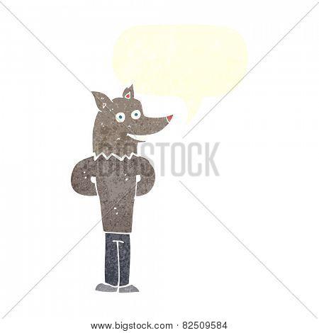 cartoon wolf man with speech bubble
