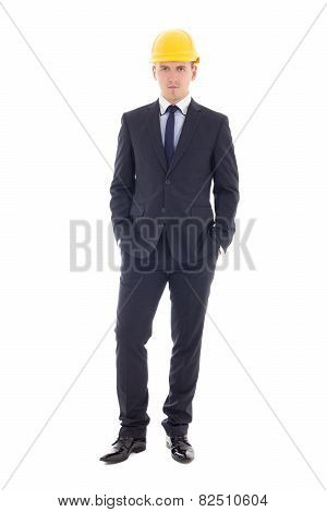 Young Business Man In Yellow Helmet Isolated On White