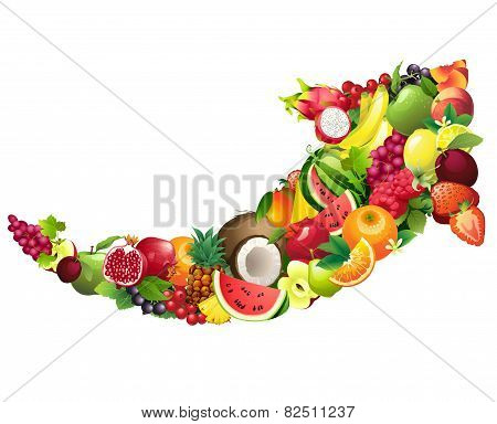 Arrow composed of different fruits with leaves