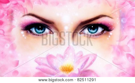 Rosa Lotus Flower, enchanting eye portrait