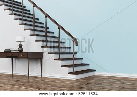 Classic wooden staircase with stairs in house with table and handrail (3D Rendering)