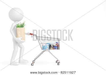3D guy as customer in a supermarket pushing shopping cart with groceries (3D Rendering)