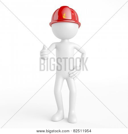 White 3D guy as firefighter with red helmet holding his thumbs up