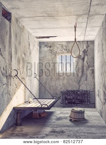 Suicide noose in the prison cell interior. 3d concept