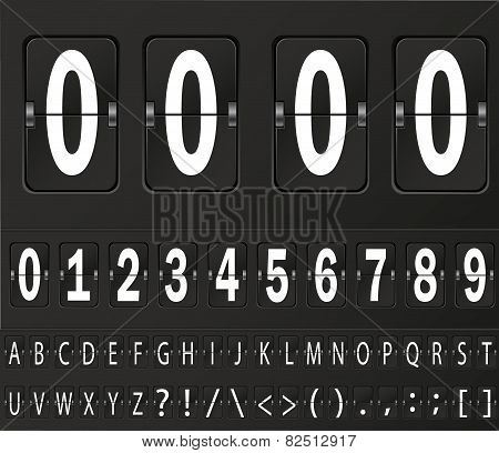 Table flap clock and number counter template plus all numbers with flips. Highly editable EPS10.