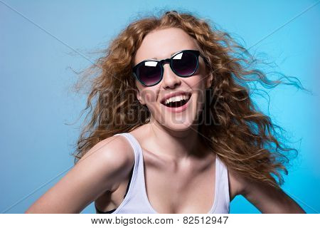 Pretty Young Emotional Girl In Sunglasses