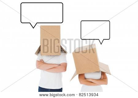Mature couple wearing boxes over their heads against speech bubble