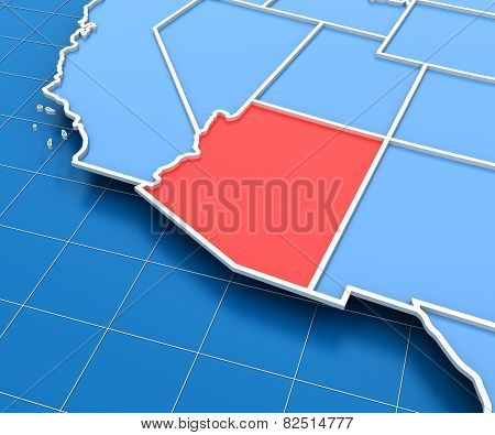 3d render of USA map with Arizona state highlighted
