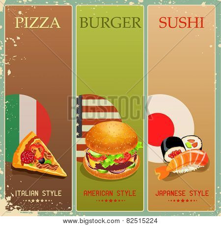 Poster with burger, pizza, sushi in vintage style