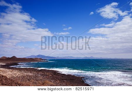 View Towards Lanzarote, Canary Islands From Small Island Isla De Lobos