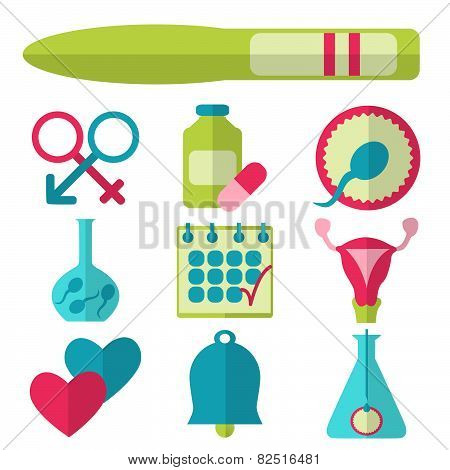 Flat design, vector set of fertility icons isolated on white background