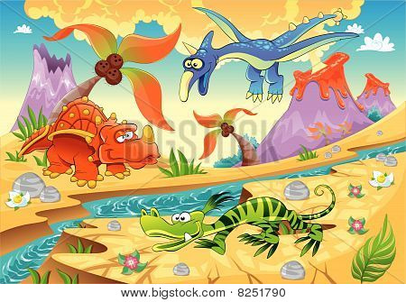 Monsters Dinosaurs with prehistoric background.