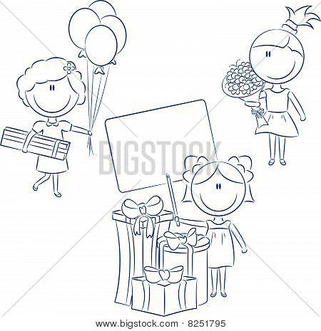 Chicas animadas hacen feliz cumpleaños